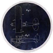 1929 Stearman Patent Drawing Blue Round Beach Towel
