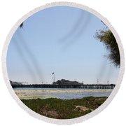 Stearns Wharf Santa Barbara Round Beach Towel