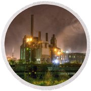 Steel Mill At Night Round Beach Towel