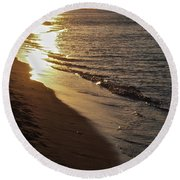 Steel Mill Sunset Round Beach Towel