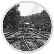Steel Rail Intersections.   Point Of Rocks Md Round Beach Towel
