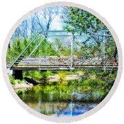 Steel Span Bridge Gettysburg Round Beach Towel
