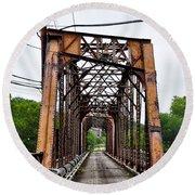 Steel Span Railroad Bridge Manayunk  Philadelphia Pa Round Beach Towel