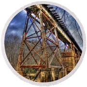 Steel Strong Rr Bridge Over The Yellow River Round Beach Towel