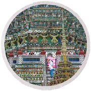 Steep Stairs Lead To Higher Level Of Temple Of The Dawn-wat Arun In Bangkok-thailand Round Beach Towel