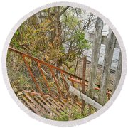 Steep Steps To Beach - Finger Lakes Round Beach Towel