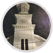 Steeple In A Snowstorm Round Beach Towel