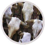 Steer Skulls  - New Mexico Round Beach Towel