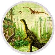 Stegosaurus And Compsognathus Dinosaurs Round Beach Towel
