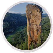 1a5719 Steins Pillar Oregon Round Beach Towel