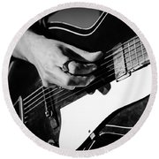 Stella Burns - Guitar Close-up Round Beach Towel