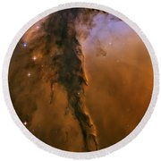 Stellar Spire In The Eagle Nebula Round Beach Towel by Adam Romanowicz