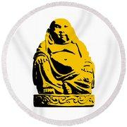 Stencil Buddha Yellow Round Beach Towel