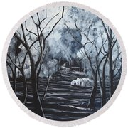 Step Into The Woods Round Beach Towel