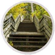 Step Trail In Woods 10 Round Beach Towel