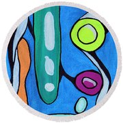 Stepping Into The Sixties Round Beach Towel