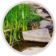 Stepping Stones Across Creek On Lower Palm Canyon Trail In Indian Canyons Near Palm Springs-ca Round Beach Towel