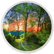 Stepping Stones To The Light Round Beach Towel