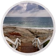 Steps And Pelicans Round Beach Towel