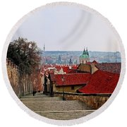 Steps Of Prague Round Beach Towel