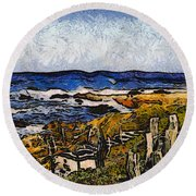 Steps To The Sea Abstract Round Beach Towel