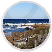 Steps To The Sea Round Beach Towel