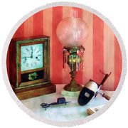 Stereopticon Lamp And Clock Round Beach Towel
