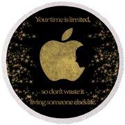 Steve Jobs Quote Original Digital Artwork Round Beach Towel
