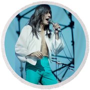 Steve Perry Of Journey At Day On The Green - July 1980 Round Beach Towel