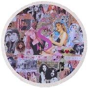 Stevie Nicks Art Collage Round Beach Towel