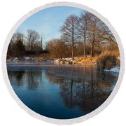 Still And Early - Icy Reflections With A Touch Of Snow Round Beach Towel