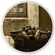 Still Life At Chenonceau Round Beach Towel
