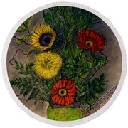 Still Life Ceramic Vase With Two Gerbera Daisy And Two Sunflowers Round Beach Towel