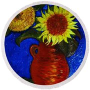 Still Life Clay Vase With Two Sunflowers Round Beach Towel