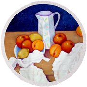 Still Life In Honor Of Cezanne   Round Beach Towel