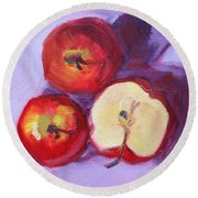 Still Life Kitchen Apple Painting Round Beach Towel