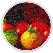 Still Life Tomatoes Fruits And Vegetables Round Beach Towel