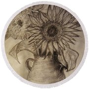 Still Life Two Sunflowers In A Clay Vase Round Beach Towel