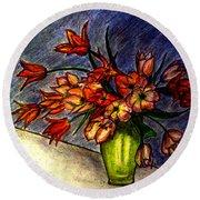 Still Life Vase With 21 Orange Tulips Round Beach Towel