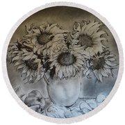 Still Life - Vase With 6 Sunflowers Round Beach Towel