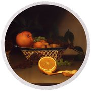 Still Life With Oranges Round Beach Towel