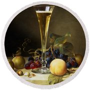 Still Life With A Glass Of Champagne Round Beach Towel by Johann Wilhelm Preyer