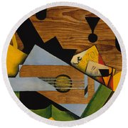Still Life With A Guitar Round Beach Towel