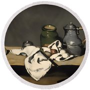 Still Life With A Kettle Round Beach Towel