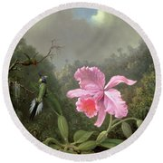 Still Life With An Orchid And A Pair Of Hummingbirds Round Beach Towel by Martin Johnson Heade