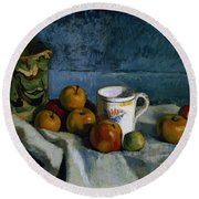 Still Life With Apples Cup And Pitcher Round Beach Towel by Paul Cezanne