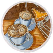 Still Life With Bicycle Round Beach Towel by Mark Jones