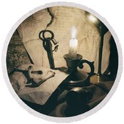 Still Life With Bones Rusty Key Wine Glass Lit Candle And Papers Round Beach Towel