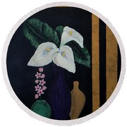 Still Life With Calla Lilies Round Beach Towel