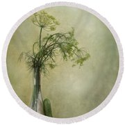 Still Life With Dill And A Cucumber Round Beach Towel by Priska Wettstein